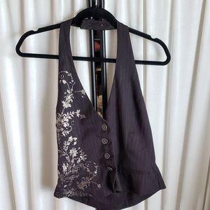 FANG size large black vest w/ light gold design